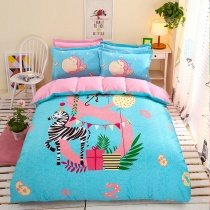 Bright Colorful Zebra Print Happy Circus Cartoon Themed Reversible 100% Cotton Twin, Full Size Bedding Sets for Kids