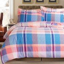 Coral Aqua Blue and Lilac Purple Madras Plaid Print Traditional Stylish 100% Brushed Cotton Full, Queen Size Bedding Sets