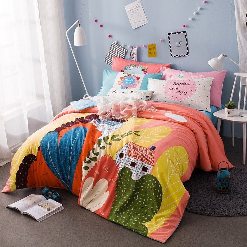 Blue Orange Yellow Olive and Coral Pink Tropical Flower and Rustic Cabin Print Hipster Style 100% Cotton Twin, Full Size Bedding Sets