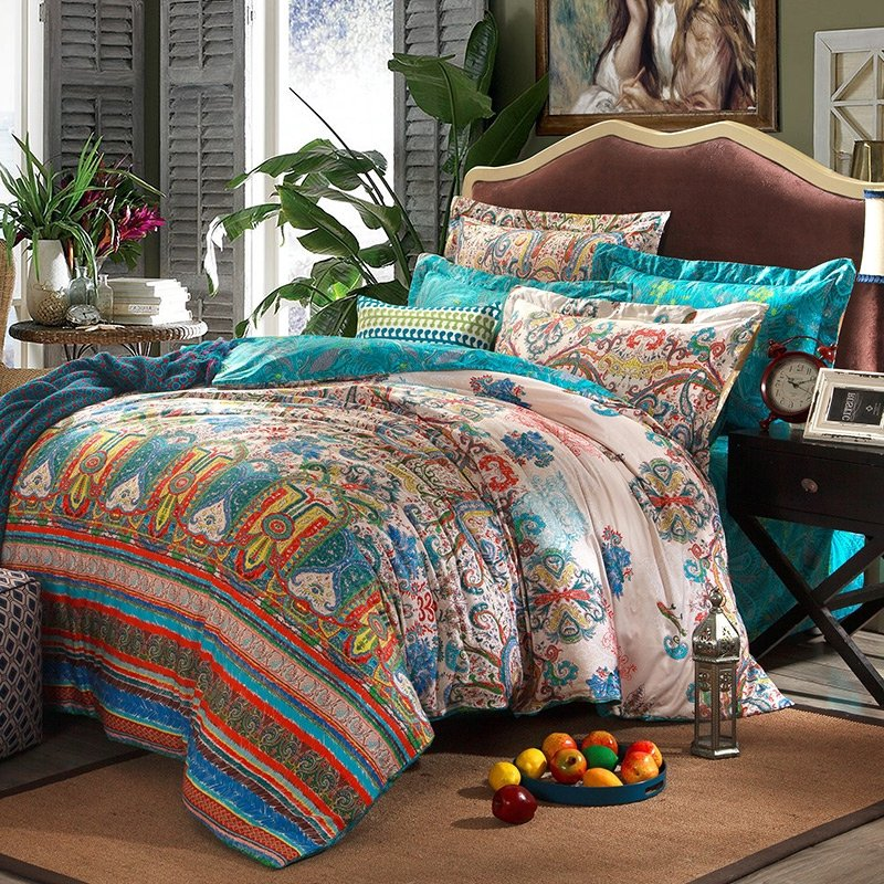 Turquoise Red Yellow and Beige Stripe and Bohemian Chic Persian Style Reversible 100% Cotton Full, Queen Size Bedding Sets