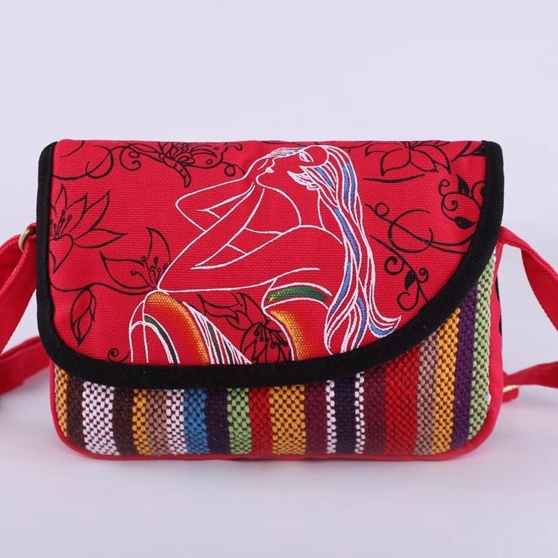 Personalized Colorful Canvas Modern Girl with Rainbow Stripe and Vector Flower Print Sewing Pattern Casual Flap Crossbody Shoulder Bag