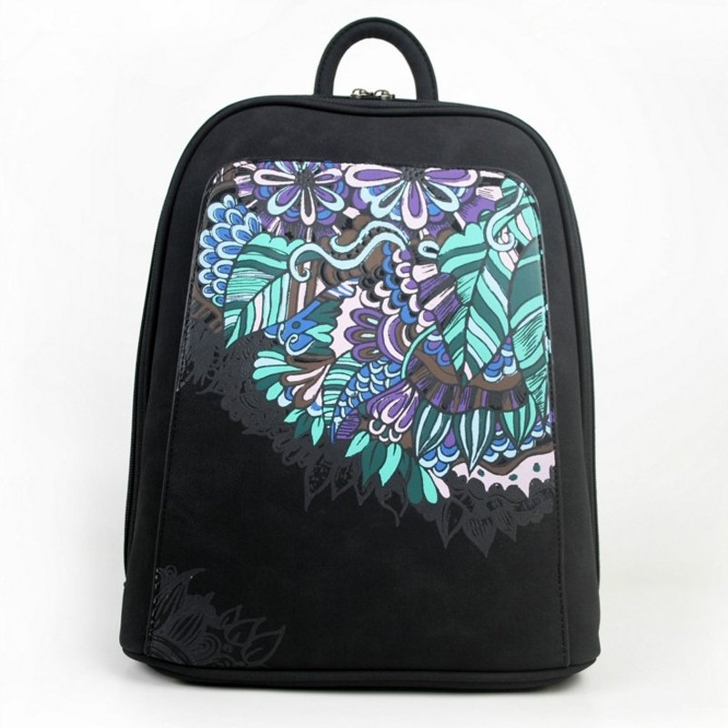 Bohemian Upscale Black Distressed Leather Women Casual Travel Backpack Vintage Folklore Floral Print Sewing Pattern 14 Inch Laptop Bag