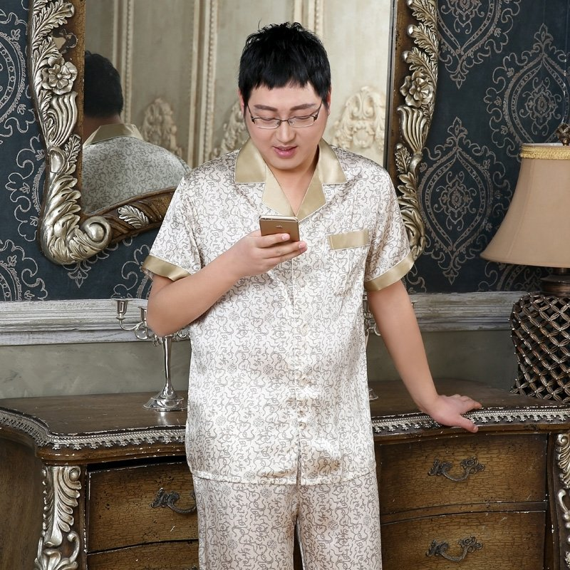 Geometric Vermicular Pattern 100% Mulberry Silk Short T-Shirt Trousers Luxurious Pajamas for Masculine L XL XXL XXXL