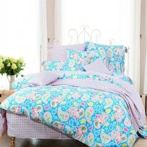 Lavender Pink Aqua and Green Paisley Print and Polka Dot Design Southwestern Style Full, Queen Size Reversible Bedding Sets