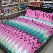 High Fashion Orchid Purple Teal and White Chevron Stripe Print Hipster Style 100% Cotton Full, Queen Size Bedding Sets