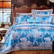 Luxury Ice Blue and Grey Floral Pattern Vintage Lace Design Sequin Shabby Chic Jacquard Satin Fabric Full, Queen Size Bedding Sets