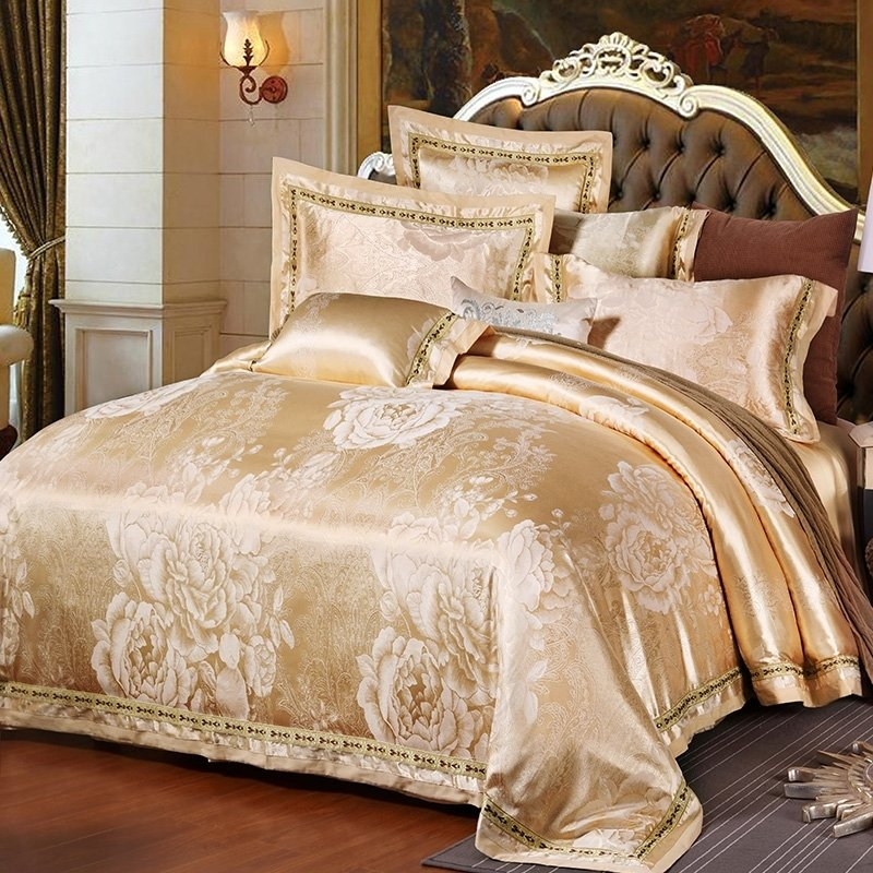 Champagne Gold Boutique Peony Flower Pattern Embroidered Design Asian Inspired Jacquard Satin Full, Queen Size Bedding Sets
