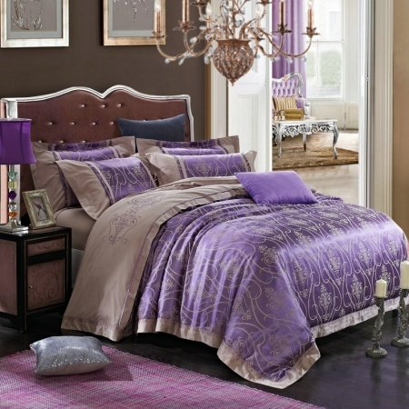 Grape Purple and Khaki Rococo Pattern Indian Design Baroque Style Embroidered Fabric Jacquard Satin Full, Queen Size Bedding Sets