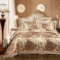 Gold and Brown Paisley and Floral Pattern Vintage Shabby Chic Sparkle Jacquard Satin Full, Queen Size Bedding Sets