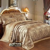 Vintage Style Old Gold Paisley Pattern Western Style Shabby Chic Luxury Jacquard Satin Full, Queen Size Bedding Sets