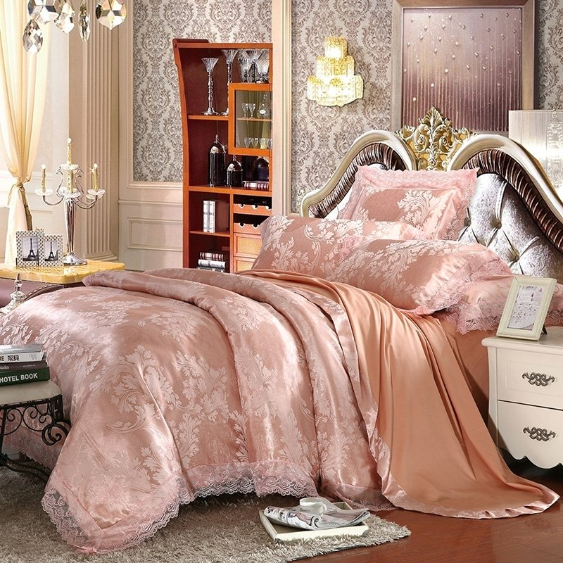 Salmon Leaf Pattern Victorian Lace Design Retro Style 4 Pieces Jacquard Satin Full, Queen Size Bedding Sets