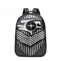 Punk Style Metallic Silver and Black Leather Masculine Travel Laptop Backpack Personalized Embossed Tactical Cool Boys School Campus Bag