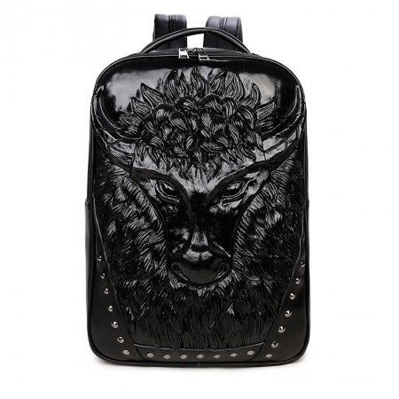 Personalized Black Patent Leather Rivet Studded Cool Men Large Travel Backpack Punk Animal Embossed Cape Buffalo School Campus Book Bag