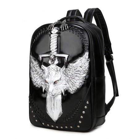 Black Patent Leather Engraved Metallic Silver Dragon Travel Backpack Punk Rock and Roll Rivet Studded Cool Boys School Campus Book Bag