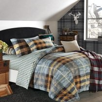 Slate Gray and Copper Plaid and Camouflage Print Masculine Style Shabby Chic 100% Brushed Cotton Full, Queen Size Bedding Sets