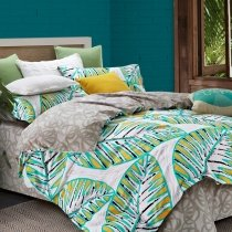 Turquoise Yellow Black and White Leaf Pattern Tropical Print Rustic Style Egyptian Cotton Sateen  Full, Queen Size Bedding Sets
