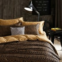 Black and Coffee Brown Leopard Print Sexy Style Luxury Twin, Full Size Bedding Sets