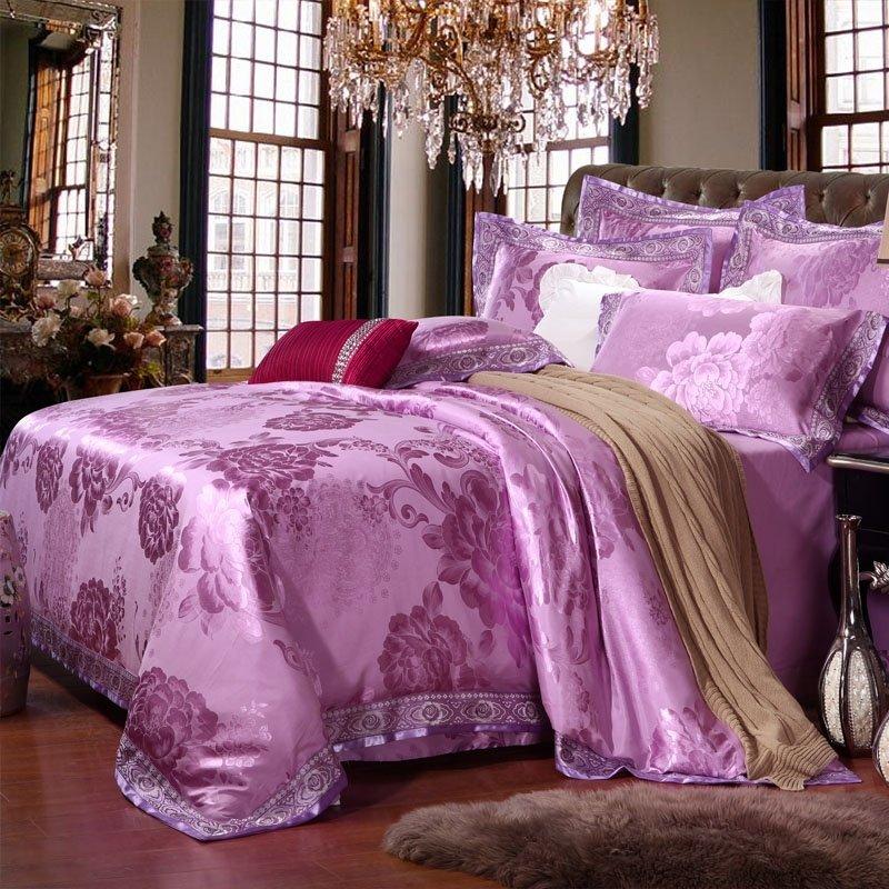 Solid Lavender Floral Pattern Vintage Rustic Chic Sophisticated Elegant Girls Luxury Full, Queen Size Bedding Sets