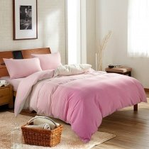 Girls Pink and White Ombre Colored Modern Chic Feminine Feel Simply 100% Cotton Full, Queen Size Bedding Sets