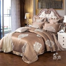 Coffee and Silver Retro Gothic Pattern Vintage Shabby Chic Sequin Jacquard Satin Full, Queen Size Bedding Sets