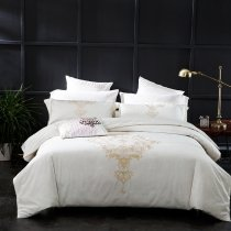 Elegant White and Gold Indian Pattern Western Wedding Themed Romantic 100% Egyptian Cotton Full, Queen Size Bedding Sets