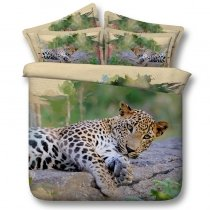 Leopard Print 3D Design Wild Animal Themed Twin, Full, Queen, King Size Bedding Sets