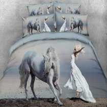 Blue Gray and White Farm Animal Themed Western Horse Print Beauty and Beast Ocean Beach Themed Twin, Full, Queen, King Size Bedding Sets