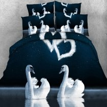 Funky Dark Green Gray and White Swan Print Love Heart Shaped Romantic Twin, Full, Queen, King Size Bedding Sets