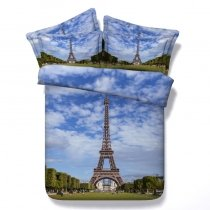 Blue White and Green Eiffel Tower Print Paris Themed 3D Design Western Style Twin, Full, Queen, King Size Bedding Sets
