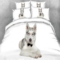 Perfect Black Gray and White Dog Print Farm Animal Themed Preppy Style Twin, Full, Queen, King Size Bedding Sets