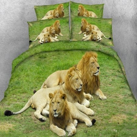 Jade Green and Tan Brown Jungle Animal 3D Lion Print African Safari Themed Kids Twin, Full, Queen, King Size Bedding Sets