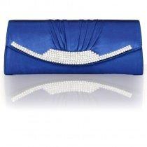 Soft Royal Blue Ruffle Silk Satin Vintage Magnetic Closure Western Bling Rhinestone Lady Small Flap Envelope Evening Clutch Bag