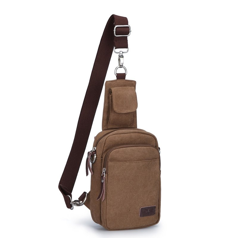 Vintage Coffee Brown Waxed Canvas Men Small Crossbody Shoulder Chest Bag Trend Sewing Pattern Casual Travel Hiking Cycling Sling Backpack