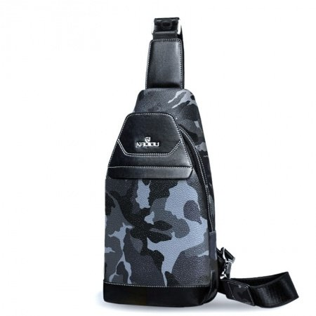 Black Gray and Blue Patent Leather Boys Crossbody Shoulder Chest Bag Military Camouflage Print Travel Hiking Cycling Sling Backpack