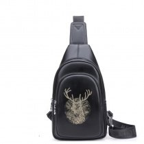 Vintage Black Distressed Waxed Leather Men Crossbody Shoulder Chest Bag Unique Animal Deer Print Travel Hiking Cycling Sling Backpack