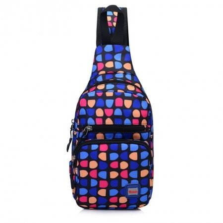 Top Fashion Colorful Nylon Women Small Crossbody Shoulder Chest Bag Korean Style Geometric Pattern Casual Travel Hiking Sling Backpack