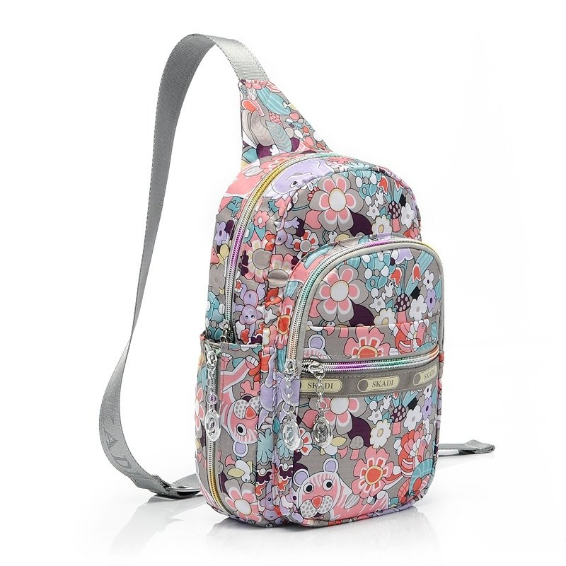 Hipster Colorful Oxford Girls Crossbody Shoulder Chest Bag Jungle Animal Leopard Flower Print Travel Hiking Cycling Sling Backpack