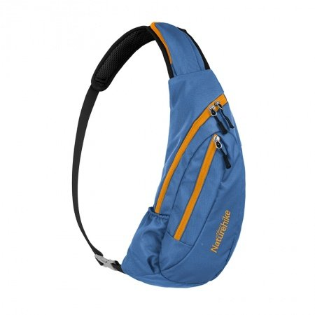 Navy Blue Nylon with Orange Trim Men Large Crossbody Shoulder Chest Bag Hipster Monogrammed Casual Travel Hiking Cycling Sling Backpack