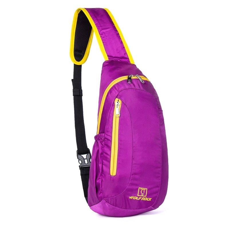 Purple Nylon with Yellow Trim Elegant Women Crossbody Shoulder Chest Bag Fashion Monogrammed Print Travel Hiking Cycling Sling Backpack