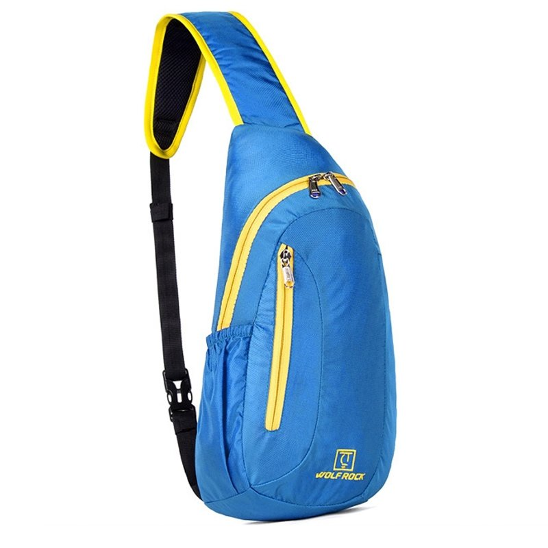 Sky Blue Nylon with Yellow Trim Boys Crossbody Shoulder Chest Bag Trend Monogrammed Print Casual Travel Hiking Cycling Sling Backpack