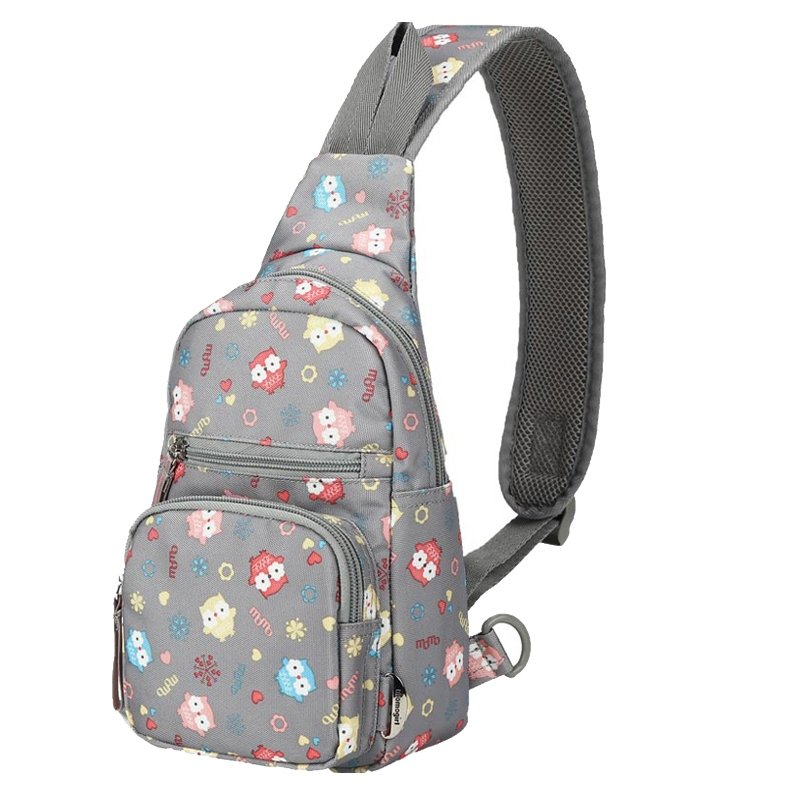Colorful Polyester Girls Small Crossbody Shoulder Chest Bag Personalized Monogrammed Owl Print Travel Hiking Cycling Sling Backpack