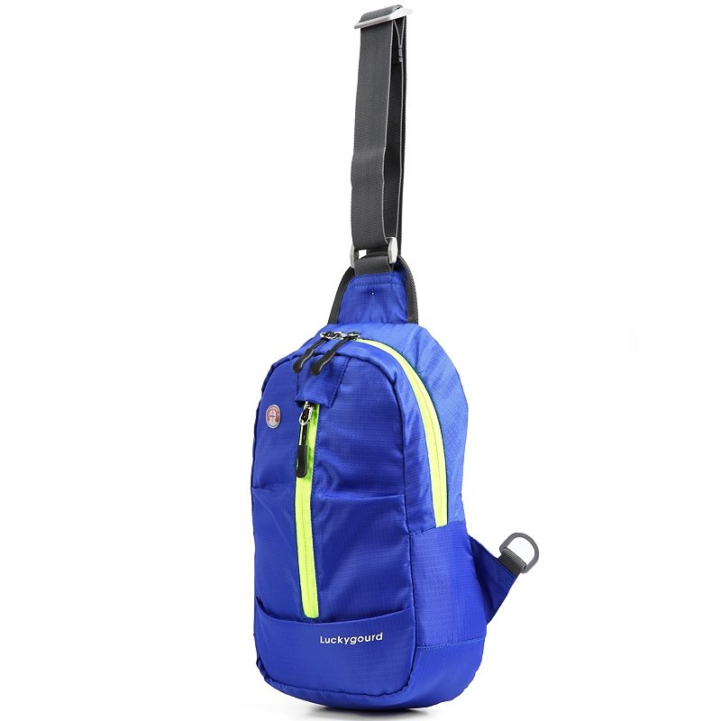 Lightweight Royal Blue Oxford Women Small Crossbody Shoulder Chest Bag Hipster Grid Plaid Print Travel Hiking Cycling Sling Backpack