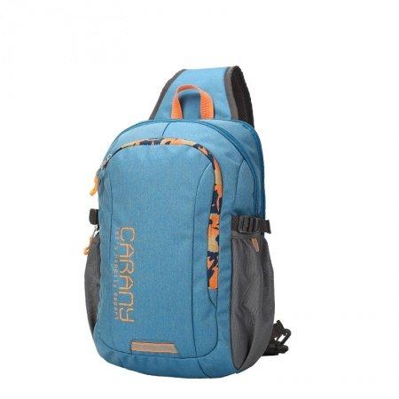 Blue Polyester with Orange trim Boys Crossbody Shoulder Chest Bag Trend Monogrammed Print Large Travel Hiking Cycling Sling Backpack
