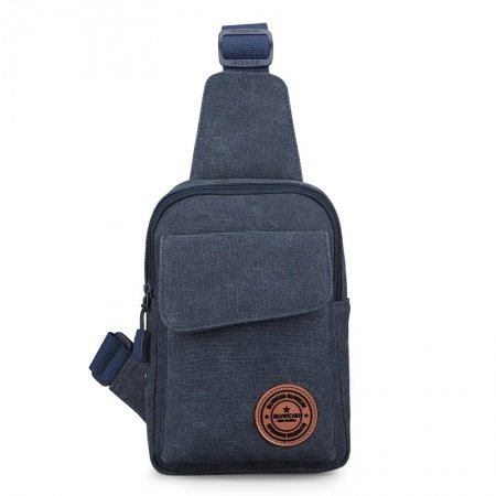 Durable Dusty Blue Waxed Canvas Men Small Crossbody Shoulder Chest Bag Trend Sewing Pattern Zipper Travel Hiking Cycling Sling Backpack
