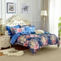 Baroque Style Navy Blue Pink Purple and Metallic Gold Vintage Gothic Pattern Floral and Paisley Print Full, Queen Size Bedding Sets