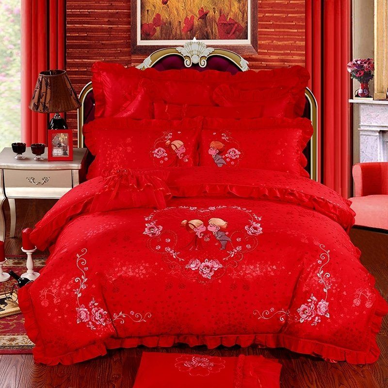 Vintage Shabby Chic Red Heart and Flower Print Wedding Themed Luxury Embroidered Jacquard Satin Full, Queen Size Bedding Sets