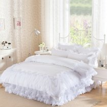 Romantic White Lace Wedding Themed Pom Pom Style Sophisticated Elegant Girls Twin, Full, Queen Size Bedding Sets