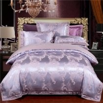Vintage Pastel Blue and Silver Indian Inspired Shabby Chic Old Fashion Embroidered Satin Full, Queen Size Bedding Sets