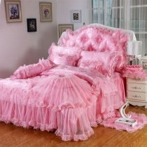 Girls Hot Pink Lace Design Sophisticated Elegant Modern Chic Feminine Feel Twin, Full, Queen Size Bedding Sets