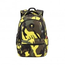 Olive Green Yellow Taupe Black Nylon Pupil School Campus Book Bag Military Camouflage Print Kids Casual Travel Hiking Backpack